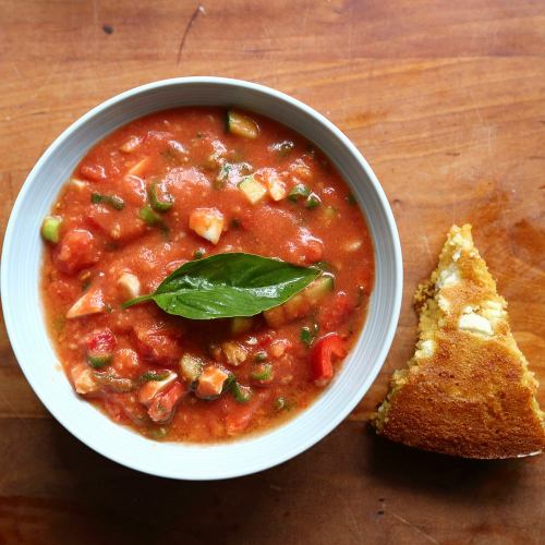 andalusian soup salad with corn bread