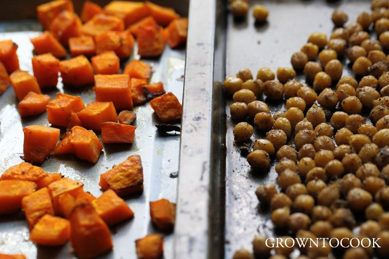 spiced chickpeas and roasted squash