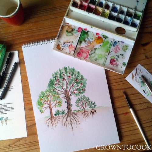 watercolor food forest