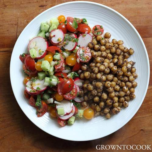 spiced chickpeas with chopped salad