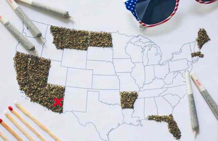 Mapa dos estados americanos com maconha