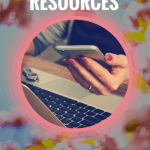 flower background, woman holding phone, computer on desk, text free spanish resources