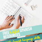 open planner on desk, woman's hands holding pen, text free helpful Spanish resources