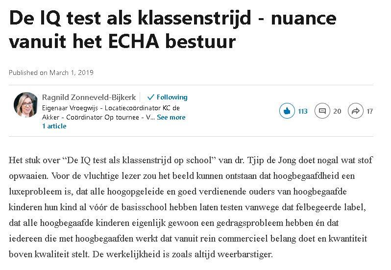 De IQ test als klassenstrijd - nuance vanuit het ECHA bestuur