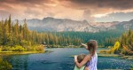 Children look over a beautiful planet