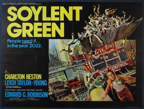 Soylent Green movie poster showing crowds of people being scooped up by bulldozers