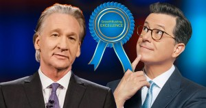 Bill Maher and Steven Colbert with GrowthBusting Excellence Award