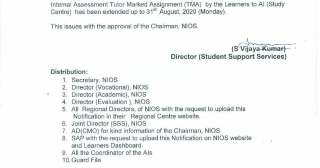 last date of nios assignment submission extended