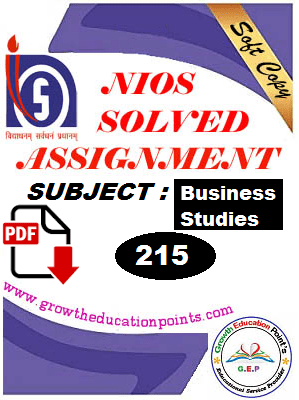 Business study (215) nios solved assignment