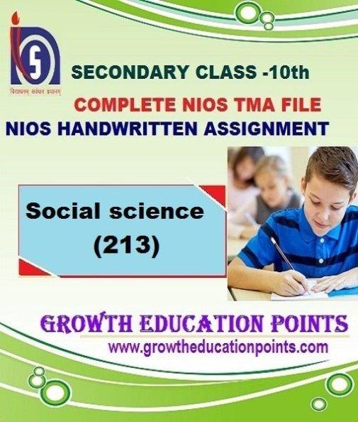 Nios Social Science (213) Solved Handwritten TMA