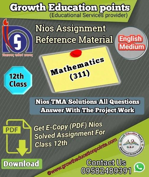 Nios Mathematics - 311 Solved Assignment PDF File