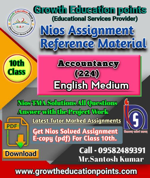 Accountancy 224 Nios solved assignment pdf