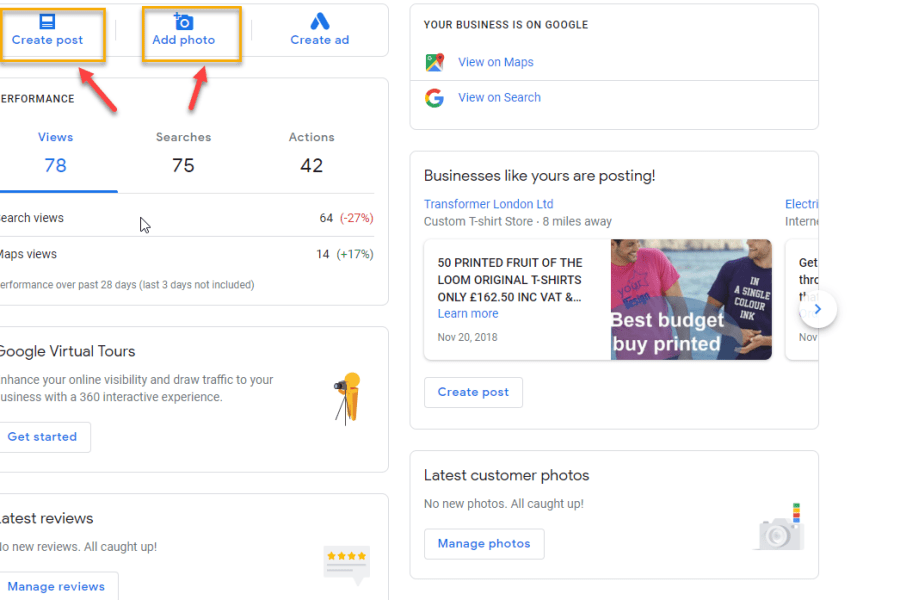 google my business interface
