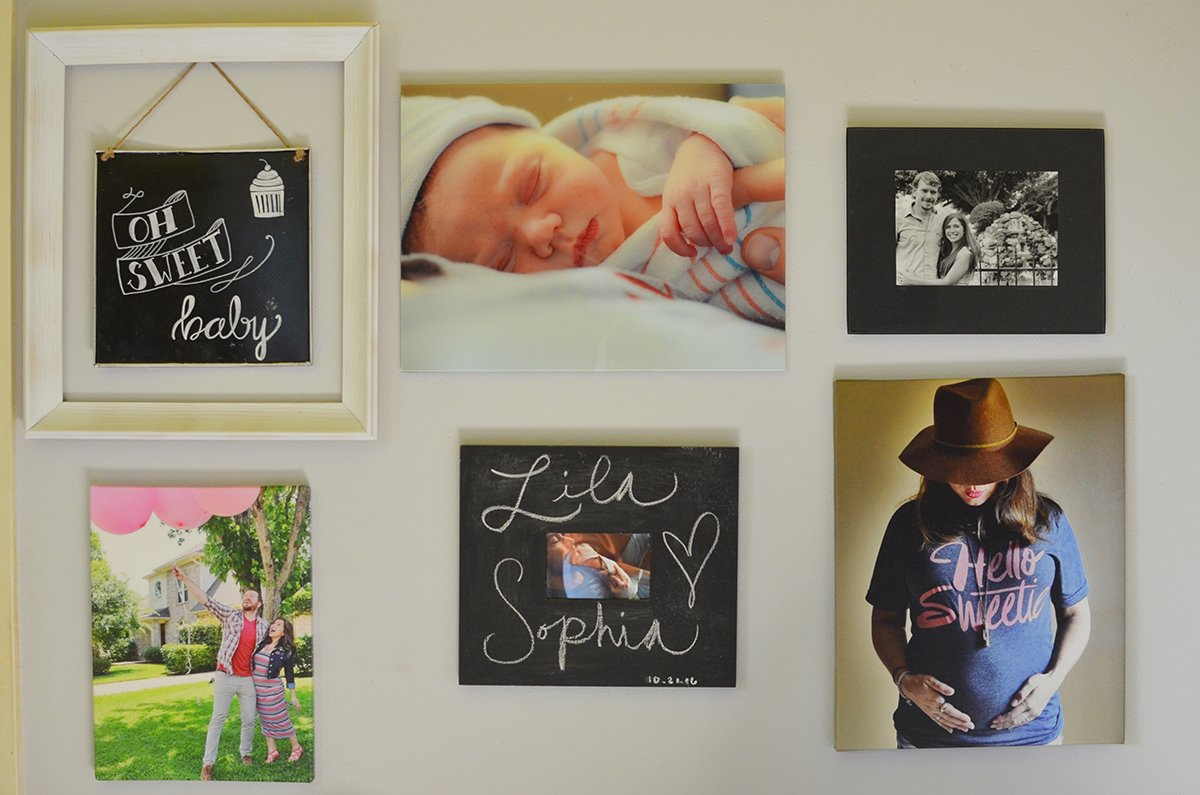 Family photo wall with glass prints from Fracture