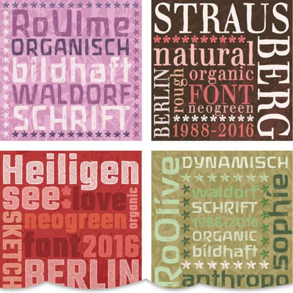 50 organische Lifestyle-Alphabeten für Anthroposophie und Green Design von Ro.Schriften und GreenFont