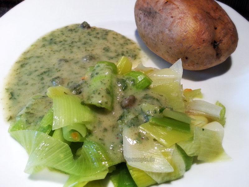 Vegan Fasten Tag 1 - Lauch in Kapernsoße mit Ofenkartoffel