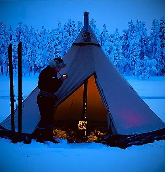 Tentipi Safir 7 CP Tipi Tent - Fire Inside a Tent
