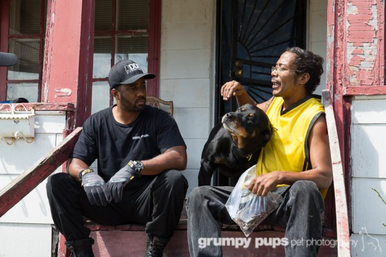 Detroit Dog Rescue, men and dog on front porch, grumpy pups pet photography
