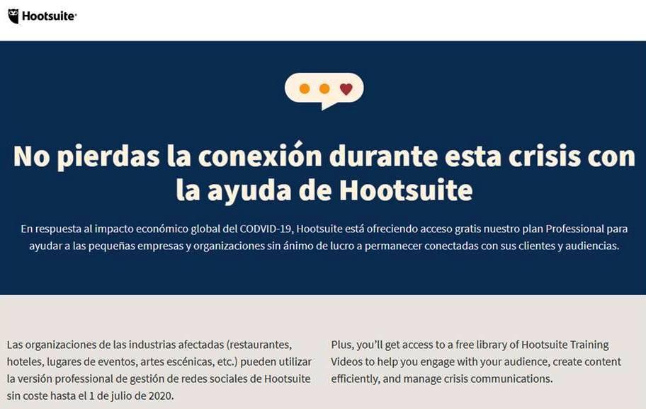 Hootsuite - Herramientas Gratis para Diseñadores en Tiempos de Covid-19