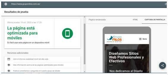 Diseño adaptable - Prueba Google - Grupo Milos C.A.