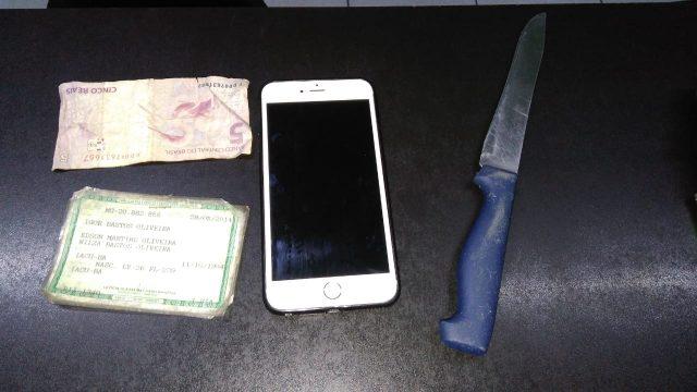 Ladrão utiliza faca para roubar moça e é preso em flagrante em Santa Gertrudes