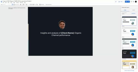 example of newly copied google data studio report