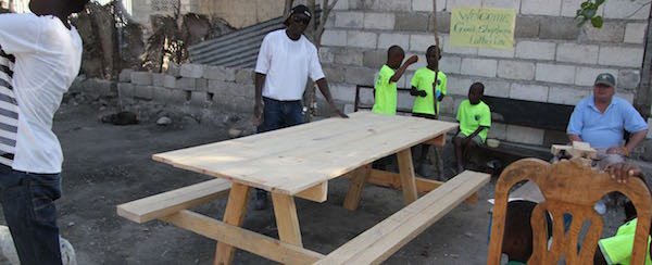 New picnic table constructed for children.
