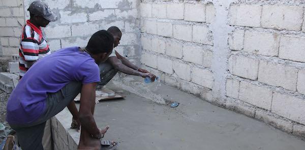 Concrete shower in Haiti