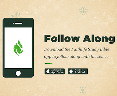 Picture of Phone advertising to download Faithlife App