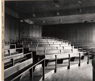 GSA Archives photograph of the Lecture Theatre in the basement of the Mackintosh Building (Archive reference: GSAA/P/7/382)