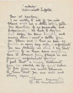 A letter from Charles Rennie Mackintosh asking for a reference from the Director of the School, Francis Newbery, to confirm that he is not a spy! (Archive reference: Sec 1 1915 Mc)