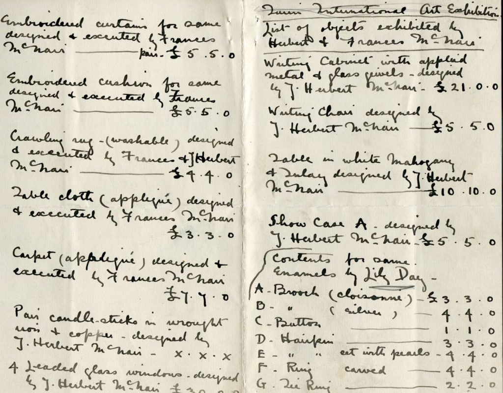 Handwritten list of items to be exhibited by Frances and Herbert McNair, c.1900, The Glasgow School of Art Archives and Collections (Archive reference: GSAA/EPH/8/1-4)