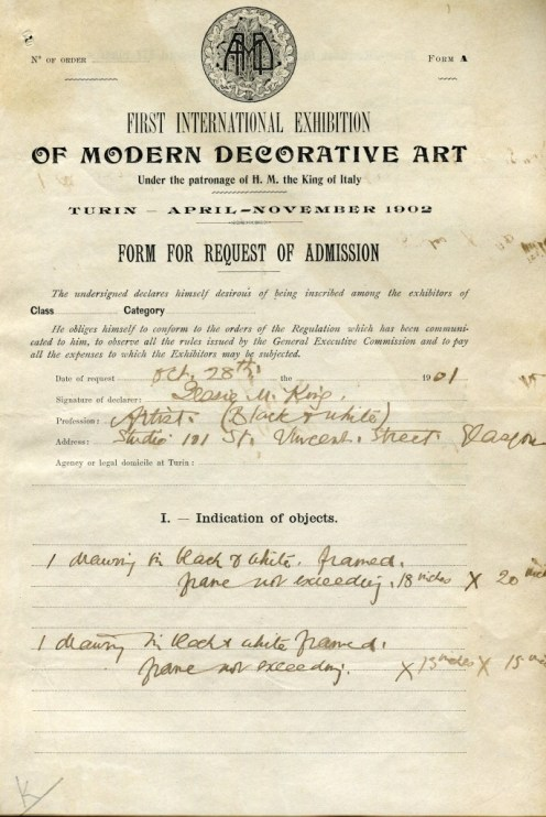 Jessie M King's exhibition application, The Glasgow School of Art Archives and Collections (Archive Reference: GSAA/EPH/8/6)
