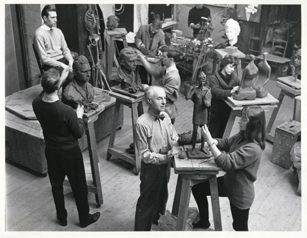 Benno Schotz teaching a Sculpture class at GSA, c.1960, The Glasgow School of Art Archives and Collections, Records of The Glasgow School of Art (Archive Reference GSAA/P/1/726)