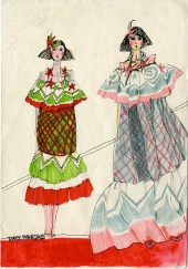 "Sheila MacDonald's illustration for ""Pennie Daintee"" dresses. Archive Reference: JAC/42."