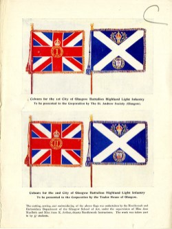 One of the Home Front Activities that GSA was involved in during World War One was an Exhibition of Modern and Ancient Needlecraft. These are paper samples from stationer's Begg, Currie & Russell which were produced for the exhibition catalogue. These flags were embroidered by 37 GSA students from the Needlecraft and Embroidery Department and supervised by Ann MacBeth, c1915-1916. (Archive Reference: GSAA/EPH/9/1/4/3)