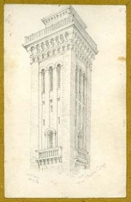 Pencil sketch of Free Church College, Glasgow.