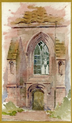 Watercolour and pencil sketch of Bothwell Church.