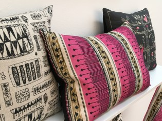 Margaret Stewart and Sylvia Chalmers cushions available to buy from Centre for Advanced Textiles