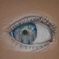 Colour drawing of an eye