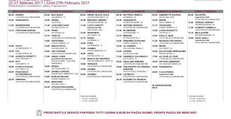 MILAN FASHION WEEK 22-27 febbraio 2017