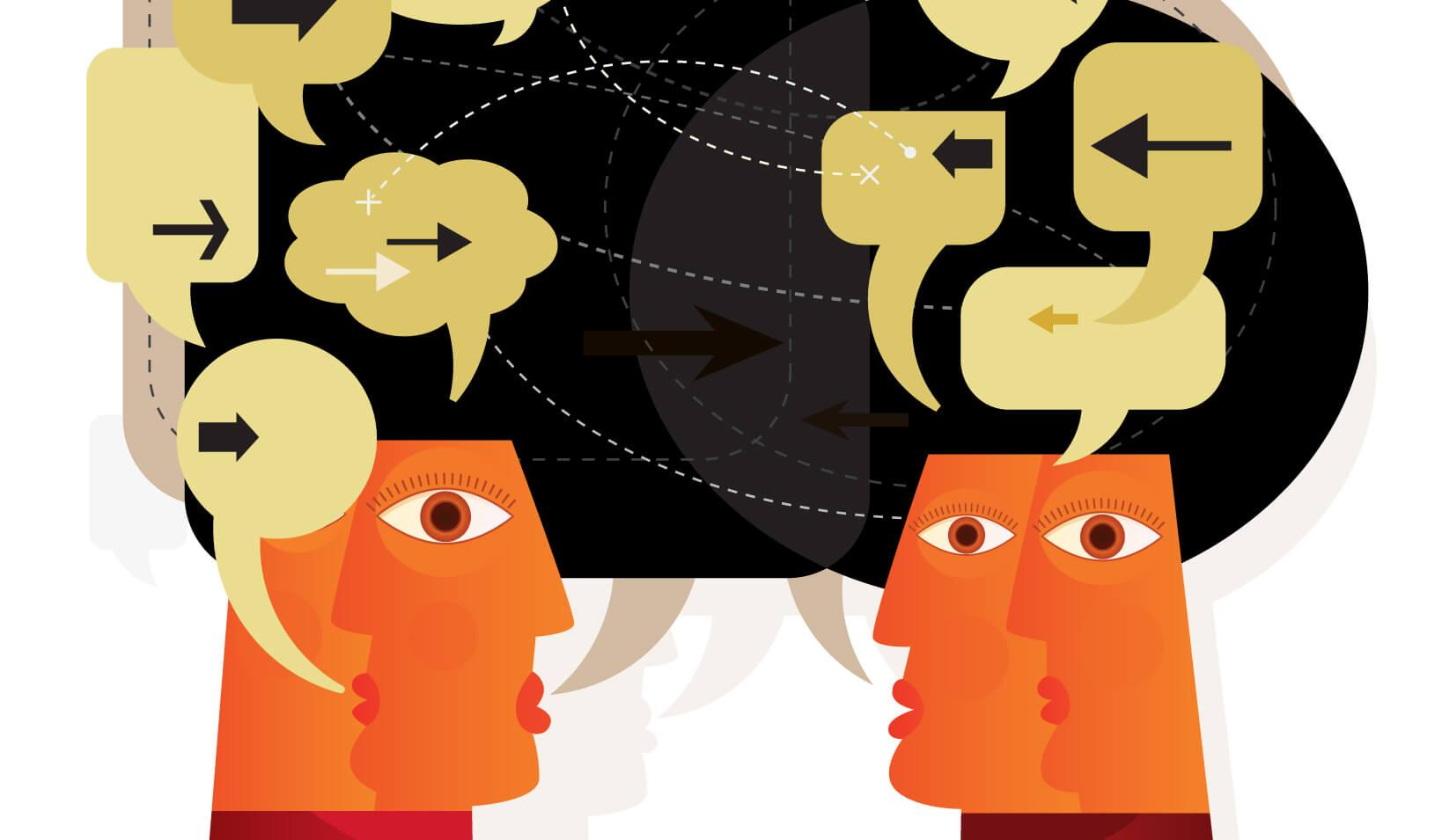 Illustration of heads communicating ideas