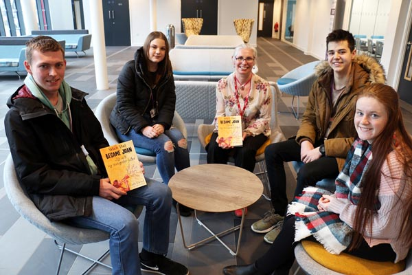 Author Cath Lloyd (centre) with students Brandon Lewis, 18, Jasmine Wood, 17, (left), Reece Bowskill, 16, and Chloe Simpson, 17 (both right).