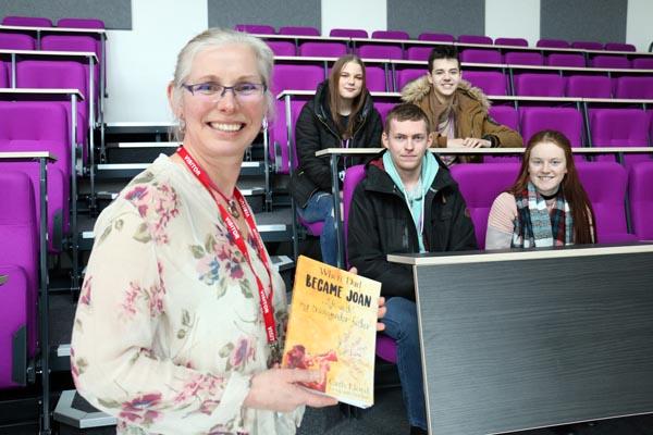 Author Cath Lloyd with students Jasmine Wood, 17, Reece Bowskill, 16, (back row) Brandon Lewis, 18, and Chloe Simpson, 17 (front row).