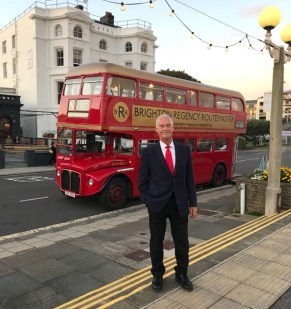 Owner Peter Waldron and the magnificent Regency Routemaster Bus