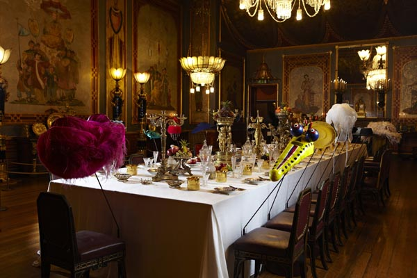 The Banqueting Room with a variety of hats for celebrities and royalty