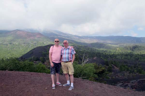 Roger and Mike on Mount Etna