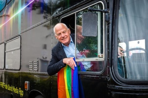 Lord Cashman CBE on the Pride bus