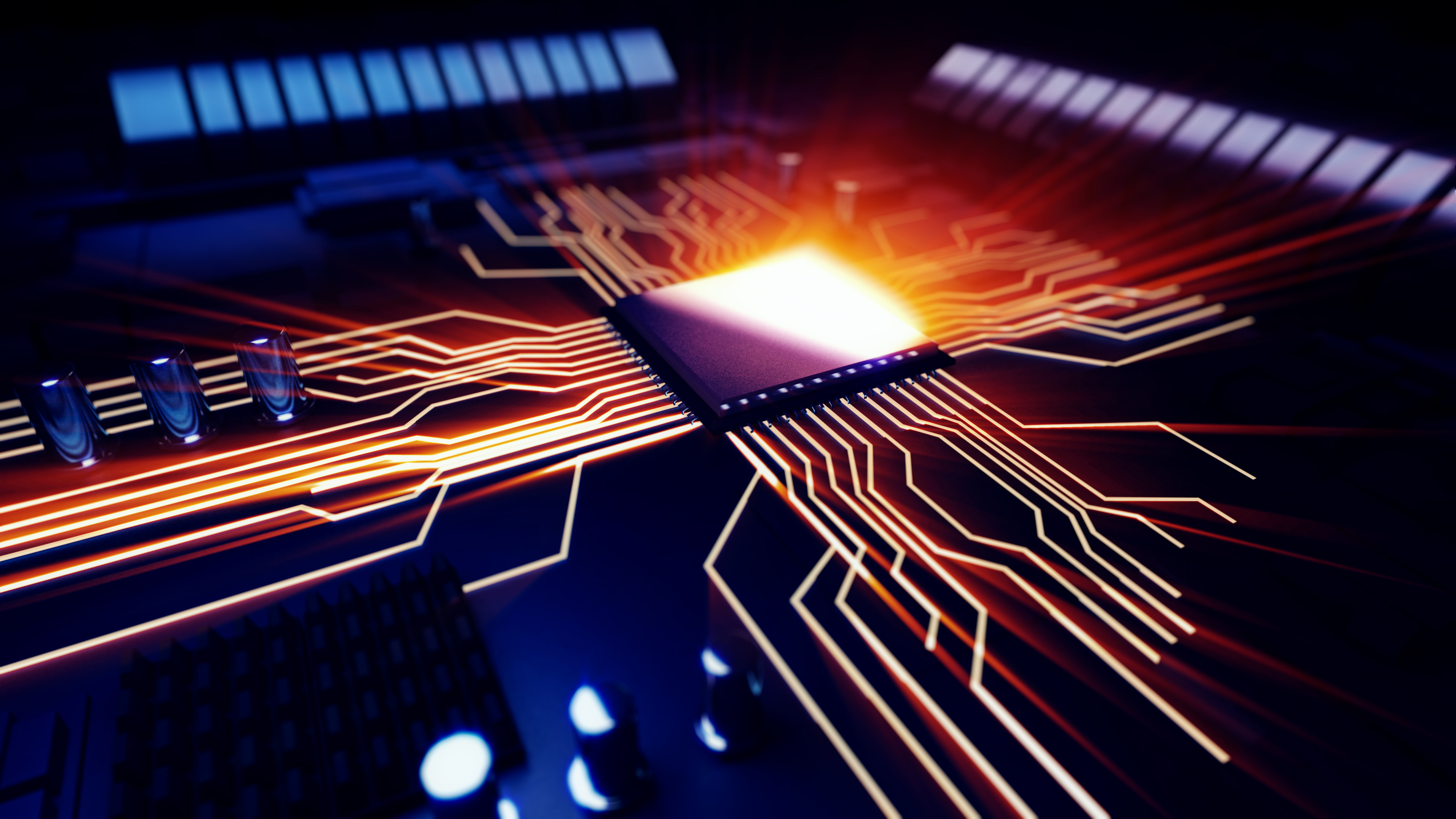3d rendered illustration of macro view central processor unit on mainboard with shine lines