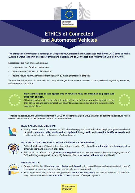 Ethics of Connected and Automated Vehicles – Factsheet image